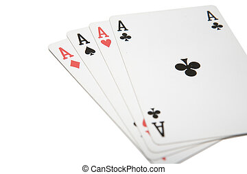 Four Aces - Winning playing cards, four aces, isolated on a...