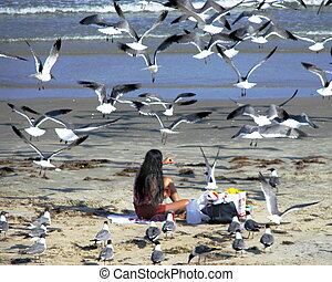 Tourist Feeding Seagulls - Seagulls swarming around a...