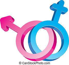 Two crossed glitter sex signs, male and female symbols, blue and pink, bounded for Valentine`s day or love icons, vector illustration