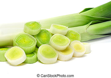 chopped leeks isolated on a white background