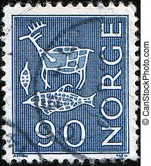 viking rock carvings - NORWAY - CIRCA 1964: A stamp printed...