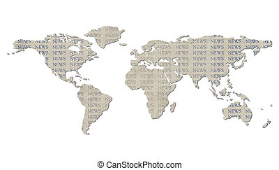 Isolated world map with NEWS text