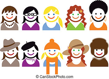 woman faces, vector - woman faces and hair style, vector...