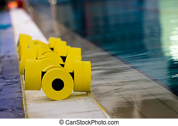 equipment in the pool - sports equipment for aqua aerobics...