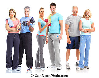 Gym, Fitness, healthy lifestyle Smiling people Over white...