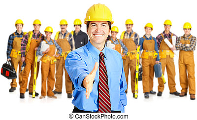 Industrial contractors workers people Isolated over white...