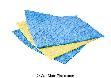 Sponge Cloths - Three sponge cloths isolated on a white...