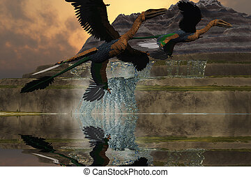 MICRORAPTOR - Two Microraptor dinosaurs fly near mountain...