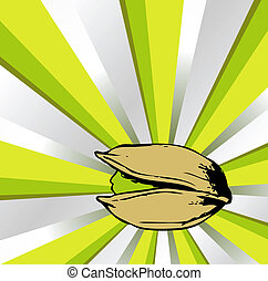 pistachio on color background