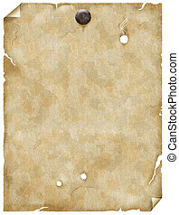 old paper with nail - old paper or parchment with nail