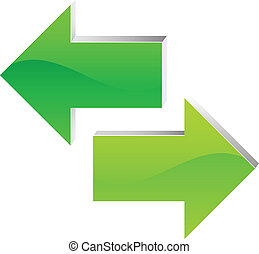 right and left arrow. green