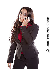 Business woman on phone mad