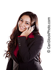 Business woman on phone smiling - A woman is on her cell...