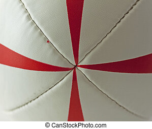 Rugby ball - Strict closeup of center of a rugby ball