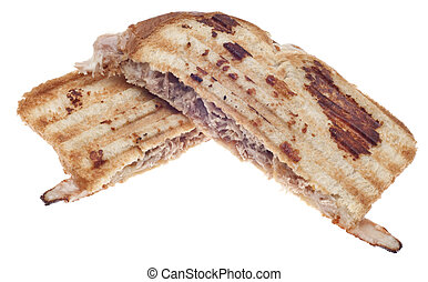 Tuna Melt Made on a Panini Press Isolated on White with a...