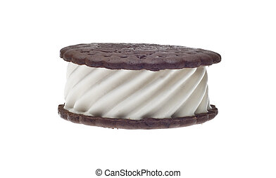 Sweet Ice Cream Sandwich Vanilla and Chocolate Isolated on...