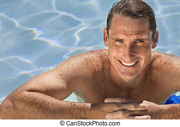 Handsome Middle Aged Man Relaxing In Swimming Pool - Close...