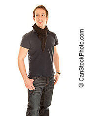 Young man in casual clothing in front of white background