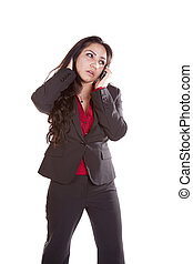 Business woman on phone worried