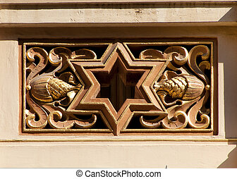 Jeruzalem Synagogue in Prague. - David star framed in...