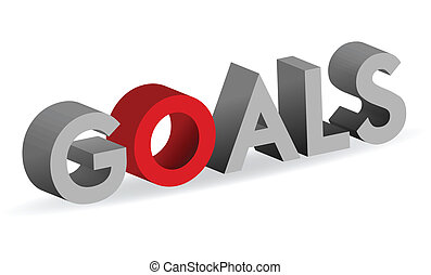 Goals sign isolated over white