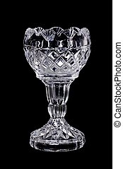 Crystal Container - Fine cut crystal glass isolated over...