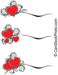 valentines borders - set of hearts with floral ornaments...