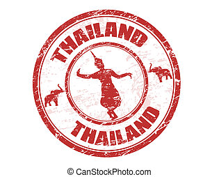 Thailand stamp - Grunge rubber stamp with silhouette of...