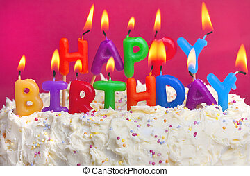 feliz, cumpleaños, pastel