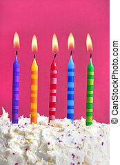 birthday candles on a cake - Close up macro photograph of 5...