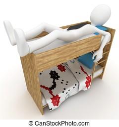 3d man sleeping in little bed