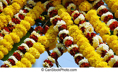 Yellow Orange Marigold Flower garlands for event decoration