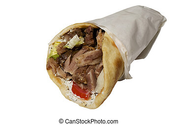 Gyros Pita fast food with bread isolated on white