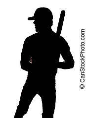 Silhouette baseball standing - A man silhouetted on a white...