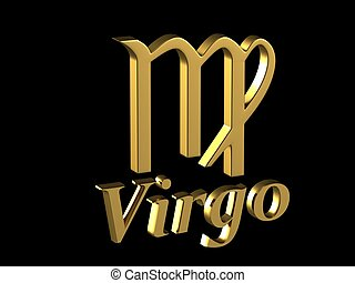 Sign Virgo - Gold zodiac sign Virgo with the title on a...