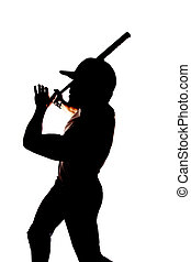 Silhouette baseball end swing