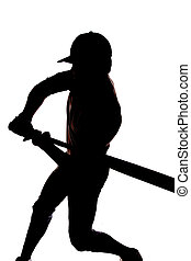 Silhouette baseball swing beginning - A man is silhouetted...