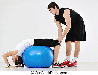 young people group in fitness club