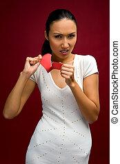 femme, coupure, papier, coeur