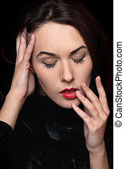 young lady with closed eyes