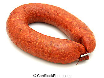 Tasty sausage is curtailed by a ring lies on a white...