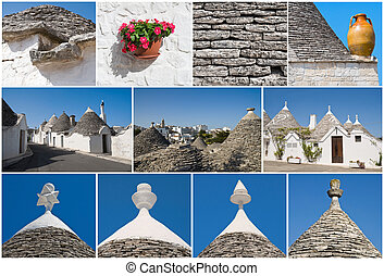 trulli,  collage,  Alberobello