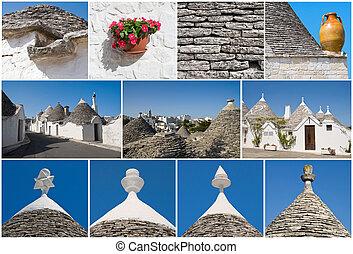 Trulli, Alberobello, collage