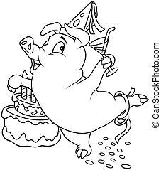Piglet and Birthday - Black and White Cartoon illustration,...