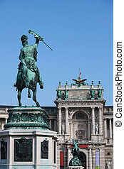 Heldenplatz, Vienna - Monument to prince Eugene at the...