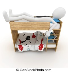 3d man sleeping in little bed isolated on white