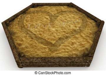 3d sandbox with valentines day love message isolated on...