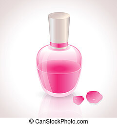 Pink Perfume Bottle with rose petals
