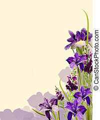 Iris and Snapdragons - Spring flowers in full bloom