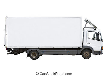 White Truck - Blank white truck isolated on a white...